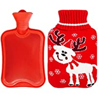800ML Netter Hirsch Klassisch Gummi Kalt oder Heiße Wasserflasche mit Strickbezug - rot preisvergleich bei billige-tabletten.eu