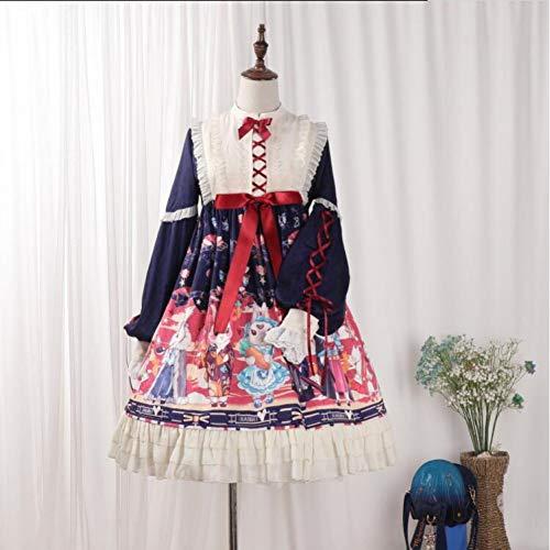 QAQBDBCKL Kaninchen Druck Süße Lolita Kleid Retro Spitze Bowknot Viktorianischen Kleid Tee Party Gothic Kleid Kawaii Mädchen Gothic Lolita Op Loli -
