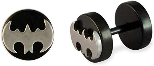 The Jewelbox Round Batman Black Silver Surgical Stainless Steel Pair Stud Earring For Men Gift
