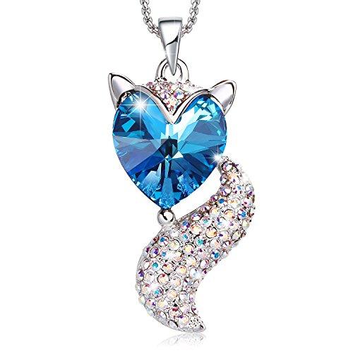 Collar de mujeres, Cristales austríacos, Colgante de zorro de cristal azul oscuro, Cristal de Corazón, Collar lindo, Chapado en oro blanco, Regalos de Día de la madre, Joyería de moda.