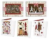 Weihnachtskarten-Set 2 x 5 Stück rot weiß gold natur Karten Weihnachten weihnachtlich MIT KUVERT vintage shabby chic Nostalgie'alt' Weihnachtsgrußkarte Doppelkarte OHNE TEXT