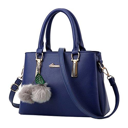 YWLINK Mode Elegant Henkeltaschen Damen Volltonfarbe Klassisch Handtasche Mit Bommel Schultertaschen UmhäNgetasche Shopper Satin-tab
