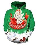 EOWJEED Männer Digital Gedruckt Hip Hop Kurzarm Mit Kapuze T-Shirt Weihnachten Hoodie Kleine