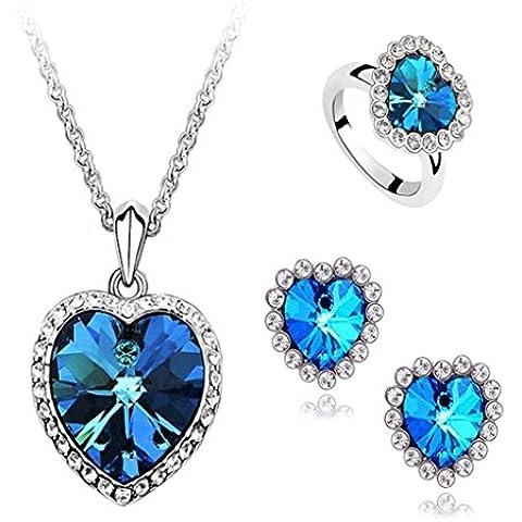 AnaZoz Joyería de Moda Juegos de Joyas de Mujer Chapado en Plata Forma Corazón Azul Cubic Zirconia Cristal Collar Pendientes y Anillo Tres Piezas Juegos de Joyas Color