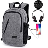 KOBWA Sac à Dos Ordinateur Portable d'affaires, 15.6' Sac Ordinateur Portable Hommes Femmes Anti-Theft, USB Charging Port and Headphone Port