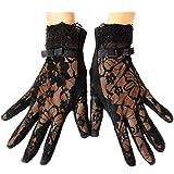 URSFUR Damen Schöne Hochwertige Baumwoll Sommer Sonnenschutz Handschuhe Netzhandschuhe spitzenhandschuhe - schwarz große blume