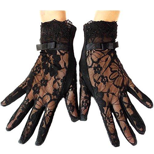 URSFUR Damen Schöne Hochwertige Baumwoll Sommer Sonnenschutz Handschuhe Netzhandschuhe spitzenhandschuhe - schwarz große ()