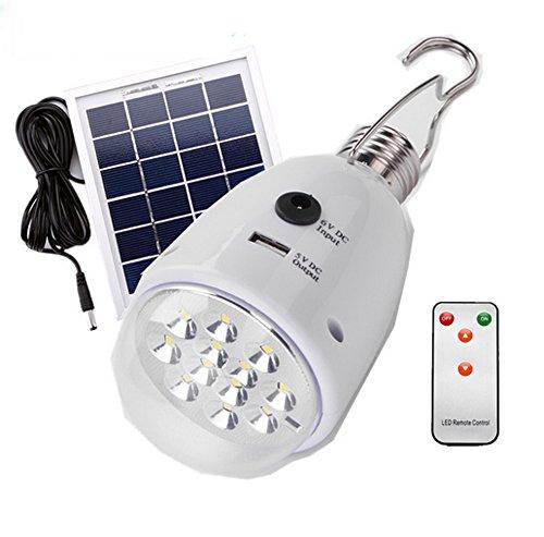 Preisvergleich Produktbild Sonnenkollektor Power LED Birne Lampe Tragbare Helligkeit LED Birne mit Solar Panel E27 Notleuchte und Ausgang DC 5V externe Akku Power Bank für Telefon