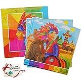 20 Stk. Servietten Indianer - Indianerzelt Geburtstag Serviette Kindergeburtstag Papier Pferd Indian