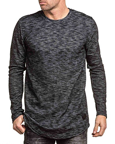Project X - Shirt grey melange Übermaß Mann lange Ärmel Grau