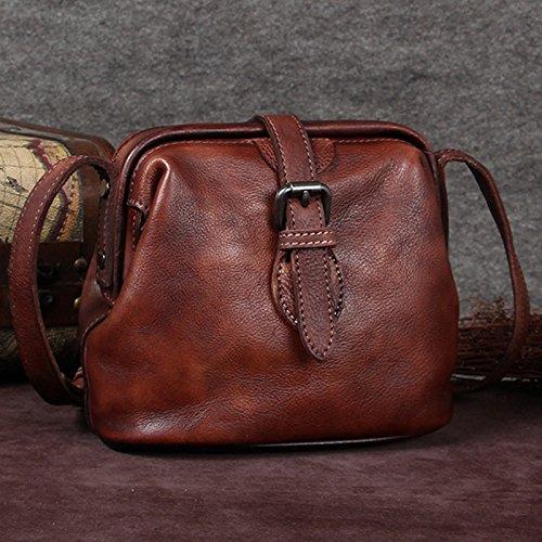 Retro Tasche aus Rindsleder Handtasche Mini Bag kleine Tasche Arzt Tasche Messenger Bag weibliche kleine Tasche schulter Leder 18,5 cm * 9 cm * 16,5 cm, braun
