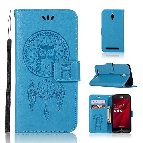 BCIT Asus Zenfone Go ZC500TG Hülle - [Eulenmuster][Premium Leder Serie] Schutzhülle PU Leder Flip Tasche Case mit Integrierten Kartensteckplätzen und Ständer für Asus Zenfone Go ZC500TG - Blau