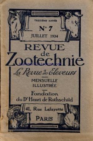 REVUE DE ZOOTECHNIE (LA) [No 7] du 01/07/1934