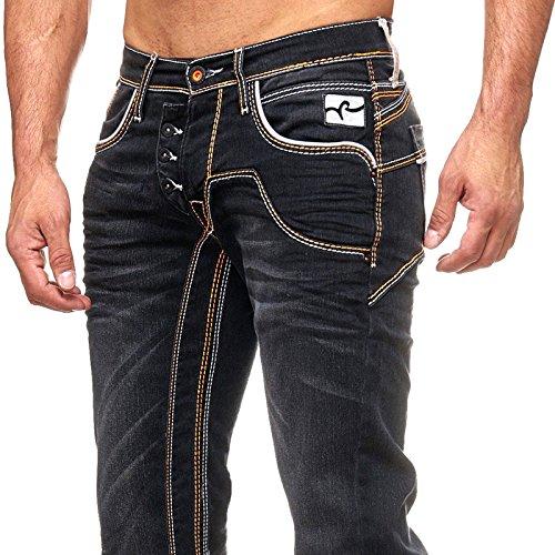 Herren Jeanshose Black Used Look Stretch Stoffhose Jeans Hose Dicke Naht 8442-33 Schwarz