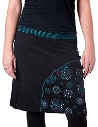 Vishes – Alternative Bekleidung – Bestickter Lagenlook Baumwollrock mit Taschen