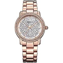 Fashion Armband-Uhr Kleid-Uhren Geschnitzte Blumen Legierung Metall Uhrenarmband Quarz Armbanduhren Für Damen Mädchen, Rose Gold