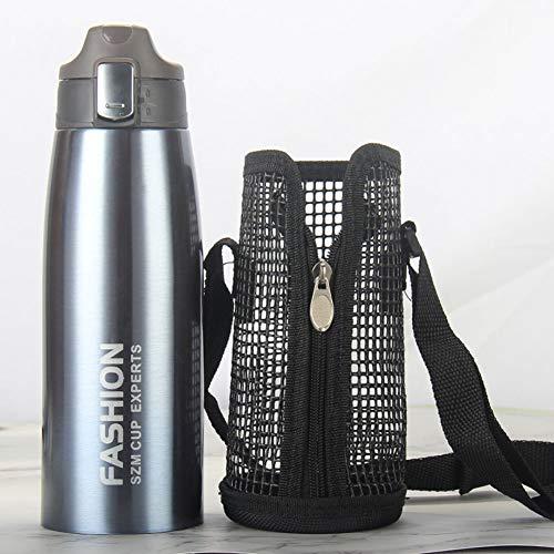 - 1000ml - Wasserflasche Doppelwandig Vakuum Isoliert Edelstahl - Auslaufsicher Sport Trinkflaschen | Ideale Flasche - BPA-freie - Tragetasche, Grau ()