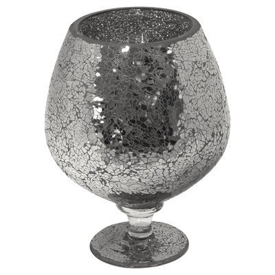 Mosaic Glass Hurricane Vase, Black, Large