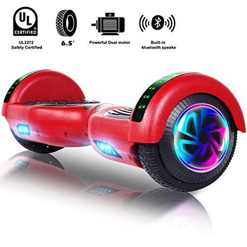 Unisun Self Balancing Scooter Hoverboard, 2-Rad-Balance-Roller mit Scheinwerfern und Bluetooth-Lautsprechern, kostenlose Tragetasche, UL 2272-zertifiziertes Balance Board, 6,5-Zoll-Blinkrad (rot)