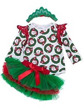 YuanDian Baby Mädchen 3tlg Kleid Weihnachten Bekleidung Set Neugeborenes Outfit Kleinkind Weihnachtskostüm Strampler...
