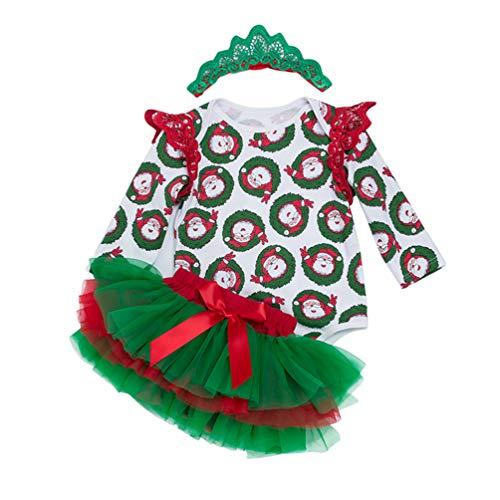 YuanDian Baby Mädchen 3tlg Kleid Weihnachten Bekleidung Set Neugeborenes Outfit Kleinkind Weihnachtskostüm Strampler Body + Tütü Rock + Stirnband Babykleidung 3# Flügel 6-12 Monate