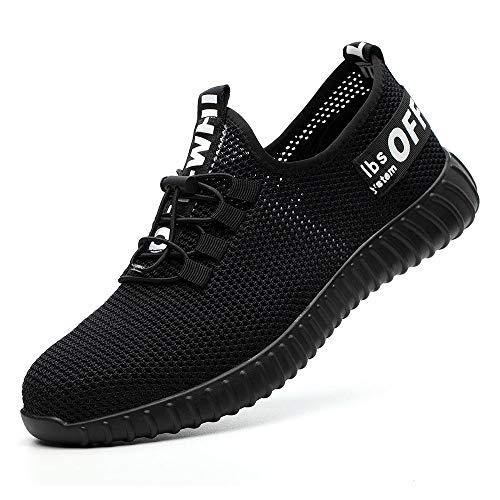 SUADEEX Sicherheitsschuhe Herren Damen Arbeitsschuhe S3 Leicht Sportlich Atmungsaktiv Schutzschuhe Stahlkappe Sneaker Turnschuhe Outdoor Schuhe Unisex, 05-schwarz, 41 EU