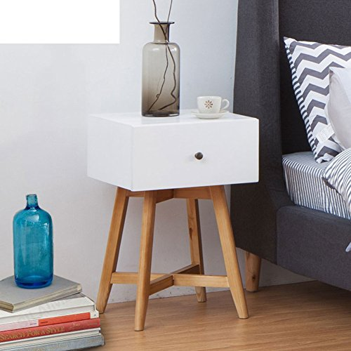FJIWDTGYHFGT Table de chevet en bois massif nordique simple,Chambre à coucher tiroir petit rangement buffet moderne creative coin de rangement blanc-A