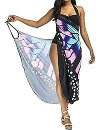 5d6b41445 Kidsform Women's Beach Bikini Cover Up Swimwear Wrap Backless Sarong Dress Spaghetti  Strap Swimwear Sundress