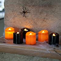 Lights4fun Black & Orange Halloween Battery LED Tea Light Candles