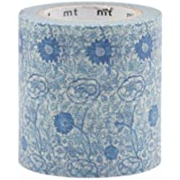 Nastro adesivo largo Washi bianco fiori blu