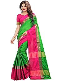 BuyOnn Women's Green -coloured Saree Collection Cotton Silk Sarees For Women Party Wear Wear Sarees With Blouse...