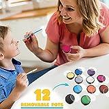 Kinderschminke Set Face Paint – 12 Farben Schminkpalette, Professionellemit Hochwertiges mit Kinder Schminkset Ideal für Kinder Partys & Fasching, großer Auswahl an Schminkfarben, Schablonen, Glitzer, Test