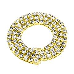 Idea Regalo - MCSAYS, collana da uomo, colore oro, con una fila di zirconi grandi, gioiello vistoso in stile hip hop con diamanti artificiali, catena lunga, acciaio inossidabile, colore: Gold, cod. nn58