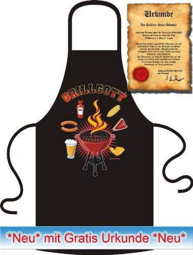 Soreso Design Rahmenlos tablier fantaisie pour barbecue inscription en langue allemande grillgott! & kochschürzen imprimé tablier de barbecue 100% coton inscription en allemand noir ®!