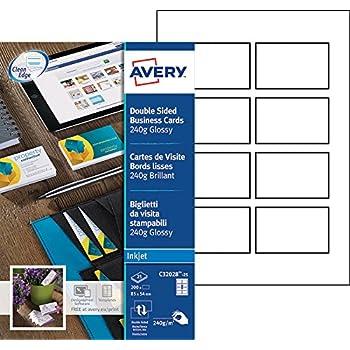 Avery 200 Cartes De Visite Bords Lisses 240g