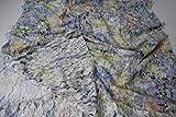 StoffBook KIWI/BLAU/BUNT BEDRUCKT BAUMWOLLE STRETCH SPITZE