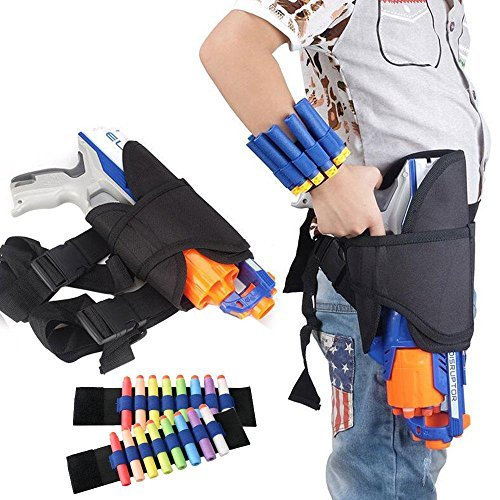 Pawaca Pistolentasche für Gürtel und Bein und 2 Pfeil-Holster-Taschen für Handgelenke im Set, für Kinder, für Hasbro Nerf Guns N-Strike Elite Series Blaster, #1 -