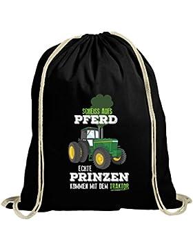 Landwirt natur Turnbeutel mit Echte Prinzen kommen mit dem Traktor Motiv von ShirtStreet