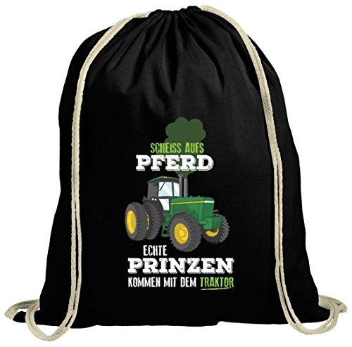 Landwirt natur Turnbeutel mit Echte Prinzen kommen mit dem Traktor Motiv von ShirtStreet schwarz natur