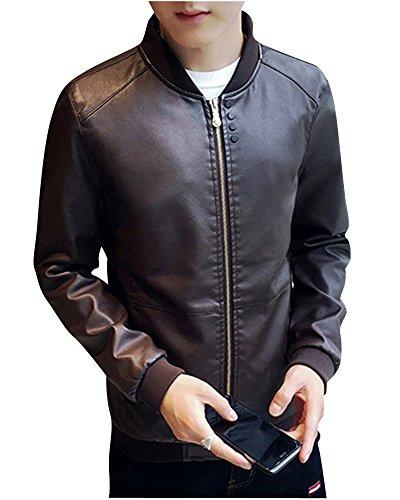 Preisvergleich Produktbild Herren Lederjacke Freizeit Motorradjacke Winddicht Warm PU Biker Jacke Slim Fit Modern Schwarz XL