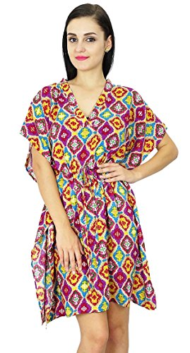 Bimba femmes Imprimé Robe caftan Short Beach Cover Up Tunique Rayon Caftan Violet