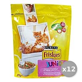 Set 12 FRISKIES 375 gr Secco Junior Pollo latte verdure Cibo Per gatti