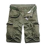Aiserkly Herren Sommer Multi-Pocket Overalls Shorts Hose aus Reiner Baumwolle Cargo Kurze Freizeithose Arbeitshose