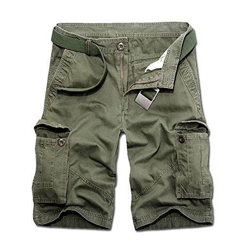 Aiserkly Herren Sommer Multi-Pocket Overalls Shorts Hose aus Reiner Baumwolle Cargo Kurze Freizeithose Arbeitshose - 5-pocket-cord-hose