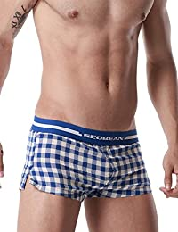 SEOBEAN Men's Low Rise Trunk Boxer Brief Shorts Lounge Underwear