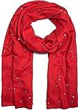 styleBREAKER edler weicher Schal mit Perlen Applikation, Winter Schal, Stola, Tuch, Damen 01017074, Farbe:Rot