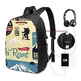 Zaino Scuola Donna Uomo Bambini Con Porta USB, Sport Alpinista Zaino Per Ragazzi e Ragazze Belle Daypack Per Sport e Viaggi