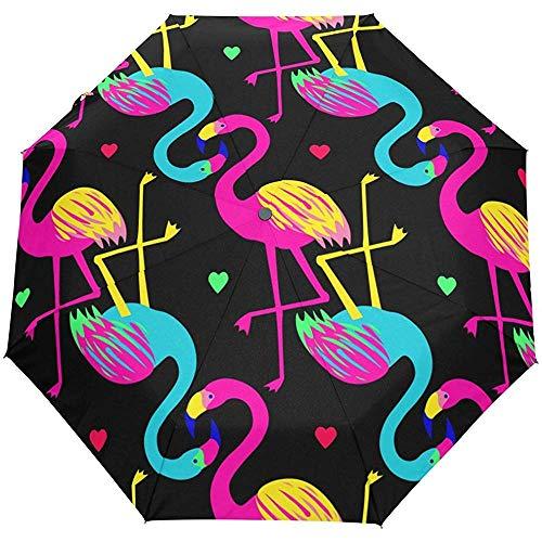 Tropische Tiere Flamingo Love Heart Auto Öffnen Schließen Sun Rain Umbrella
