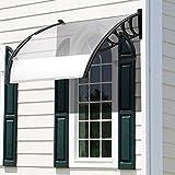 Athomestore 150 x 90 cm Vordach Überdachung TransparentesHaustürvordach Polycarbonat-Hohlkammerplatte klar Kunststoff Weiß Pultbogenvordach markise balkon