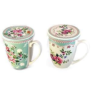 Tasse mug + infuseur et couvercle/siebablage fleur turquoise (variante 1, sombre)